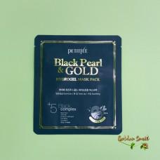 Гидрогелевая маска для лица с черным жемчугом и золотом Petitfee Black Pearl & Gold Hydrogel Mask