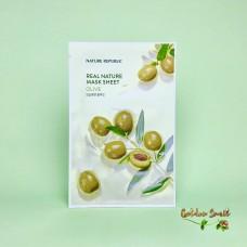 Тканевая маска для лица с маслом оливы Nature Republic Real Nature Mask Sheet Olive